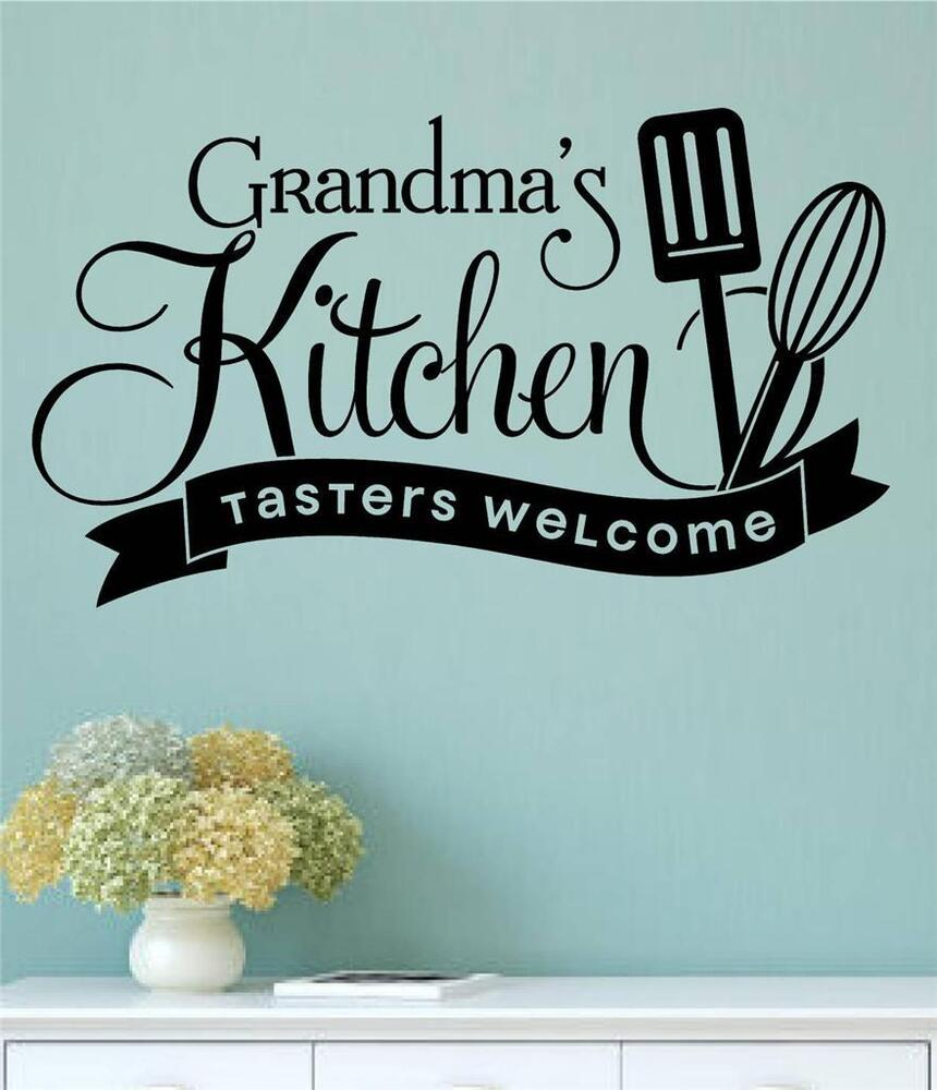 Kitchen Wall Sayings Vinyl Lettering: Grandma's Kitchen Tasters Welcome Vinyl Wall Decals Sticker Words Letters Quote