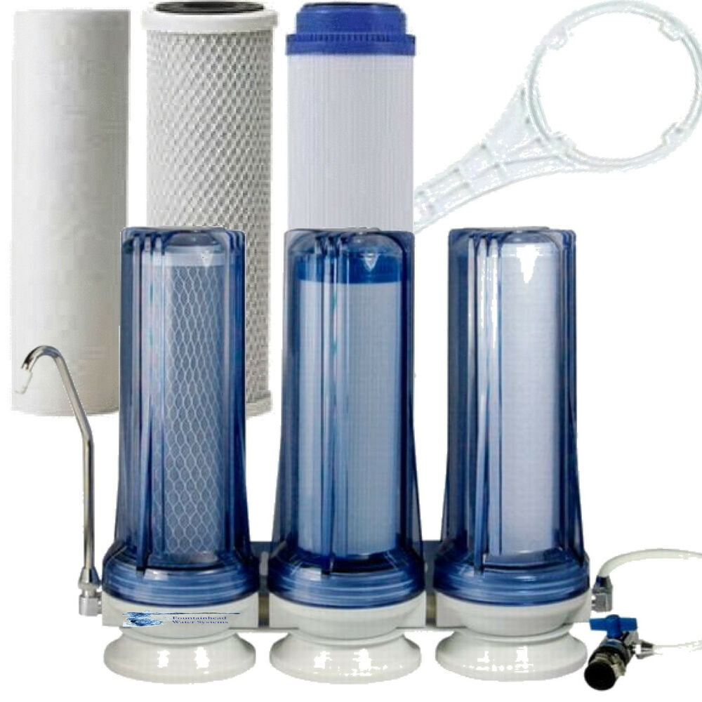 Countertop Filter System 3 Stage Clear Sediment Gac Carbon