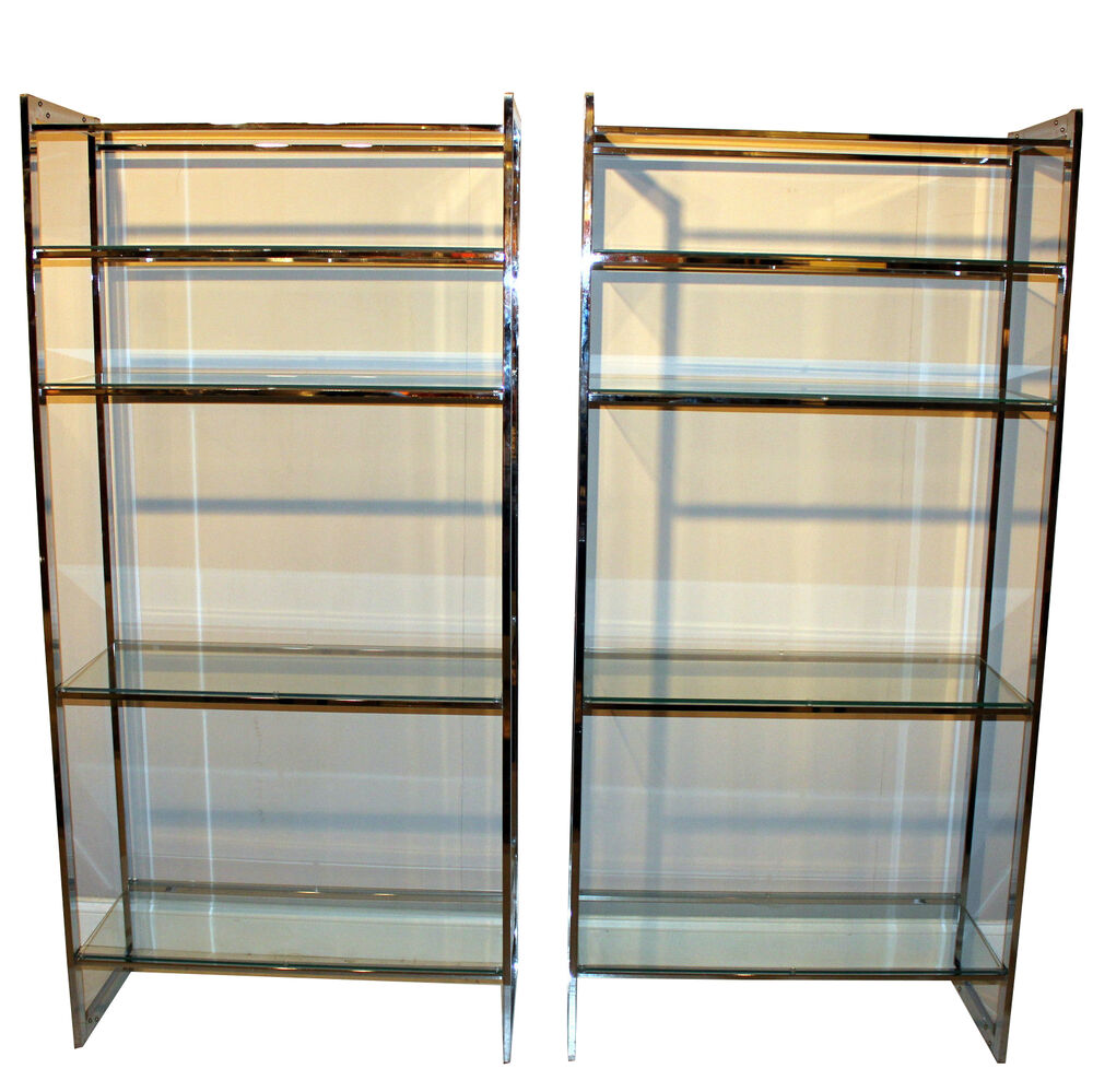 pair vintage mid century chrome metal shelves etagere display cabinet case ebay. Black Bedroom Furniture Sets. Home Design Ideas