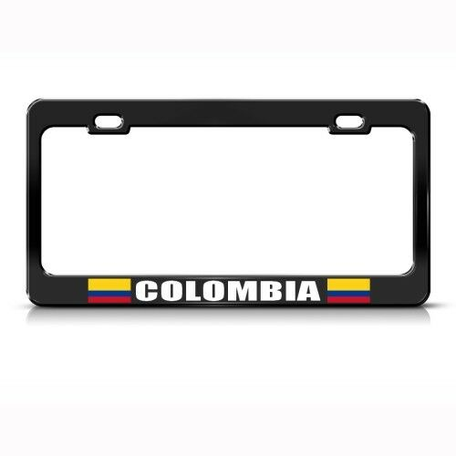 Colombia License Plate Frame: COLOMBIA COLOMBIAN FLAG BLACK COUNTRY Metal License Plate