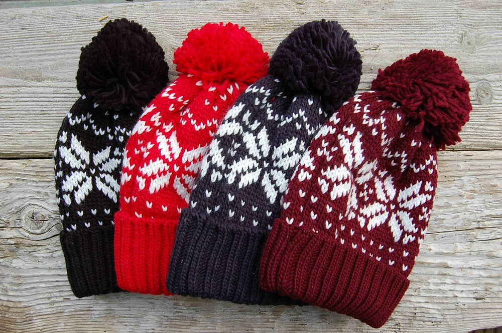 Babies Hats Knitting Patterns : Fair Isle Pattern Snowboard Bobble Hat Beanie Navy Red Black Burgundy Knitted...