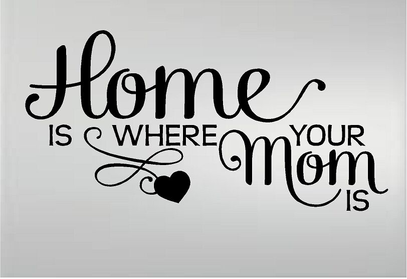 HOME IS WHERE YOUR MOM IS VINYL DECAL WALL LETTERS WORDS