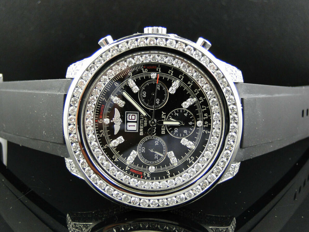Breitling Bentley Watch >> Pre-Owned Breitling Bentley A4436412 Diamond Watch with 11 Ct Diamond | eBay