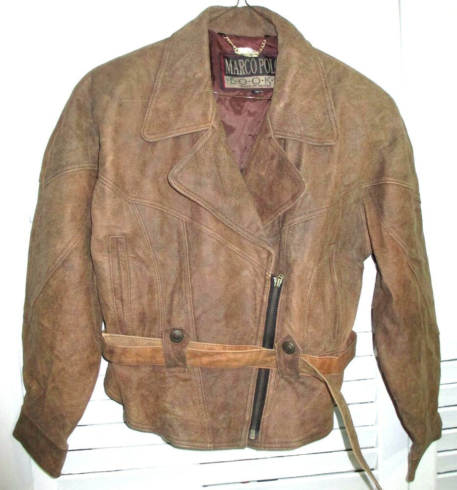 womens vintage marco polo leather jacket ebay. Black Bedroom Furniture Sets. Home Design Ideas