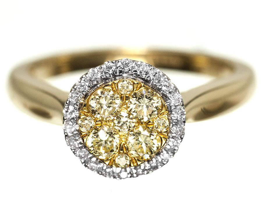 Ladies Yellow Canary Diamond Engagement Band Ring In 14K