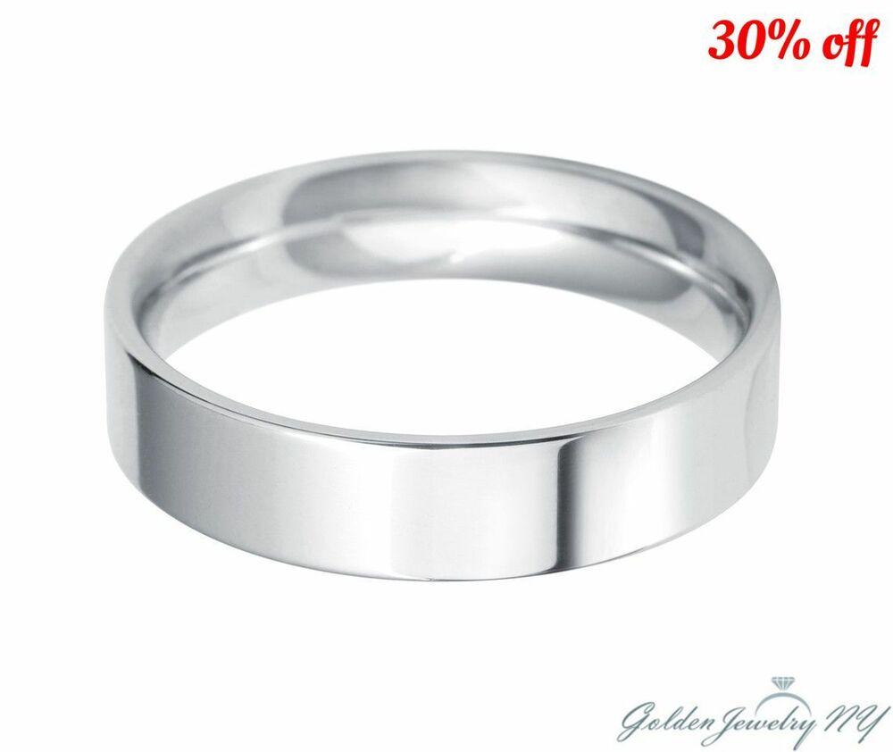 White Gold Bands: Mens Womens Solid 14K White Gold Plain FLAT Wedding Band