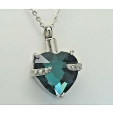 March Birthstone Heart Urn Necklace || Aquamarine Color CZ || Engraveable