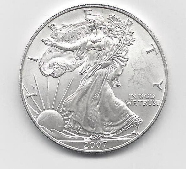 2007 1 Oz American Silver Eagle Coin One Troy Oz 999