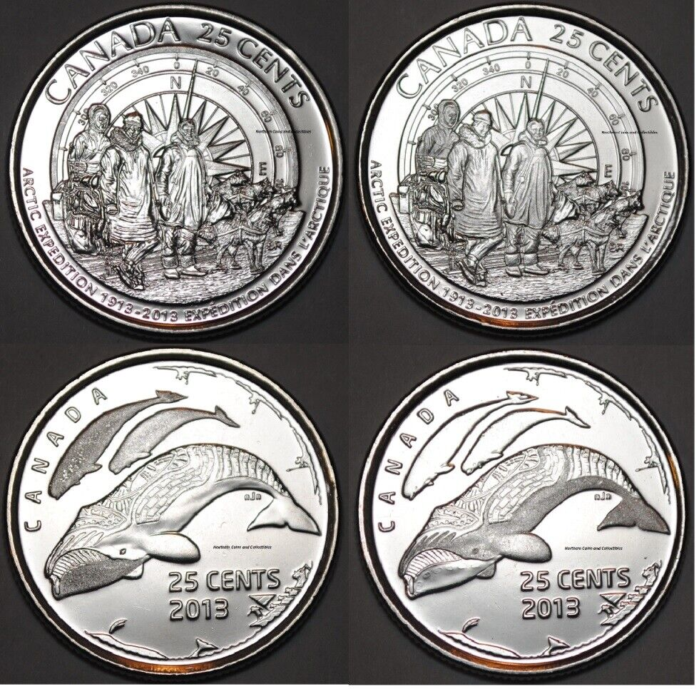 Canada 2013 Arctic Expedition And Symbols 4 Coins 25 Cents Bu Canadian Quarters Ebay