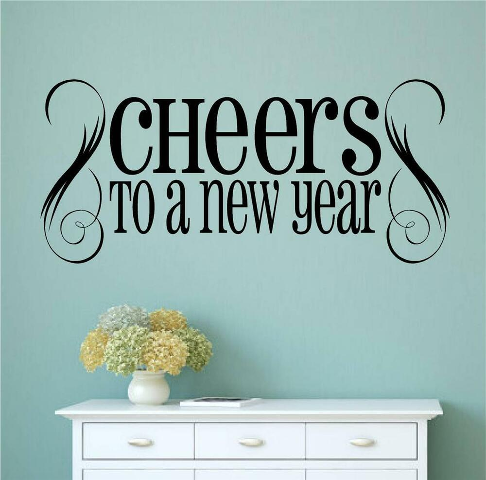 Details about cheers to a new year vinyl wall decals sticker words letters home decor art