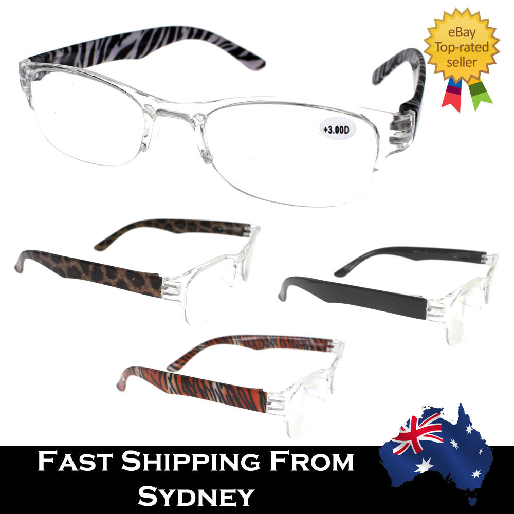 Mens Ladies Magnifying Reading Glasses Clear Half Frame 1 ...