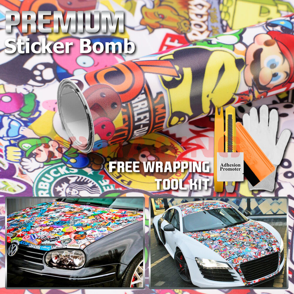 24x60 jdm cartoon stickerbomb car laptop vinyl sticker wrap decal sheet st ebay