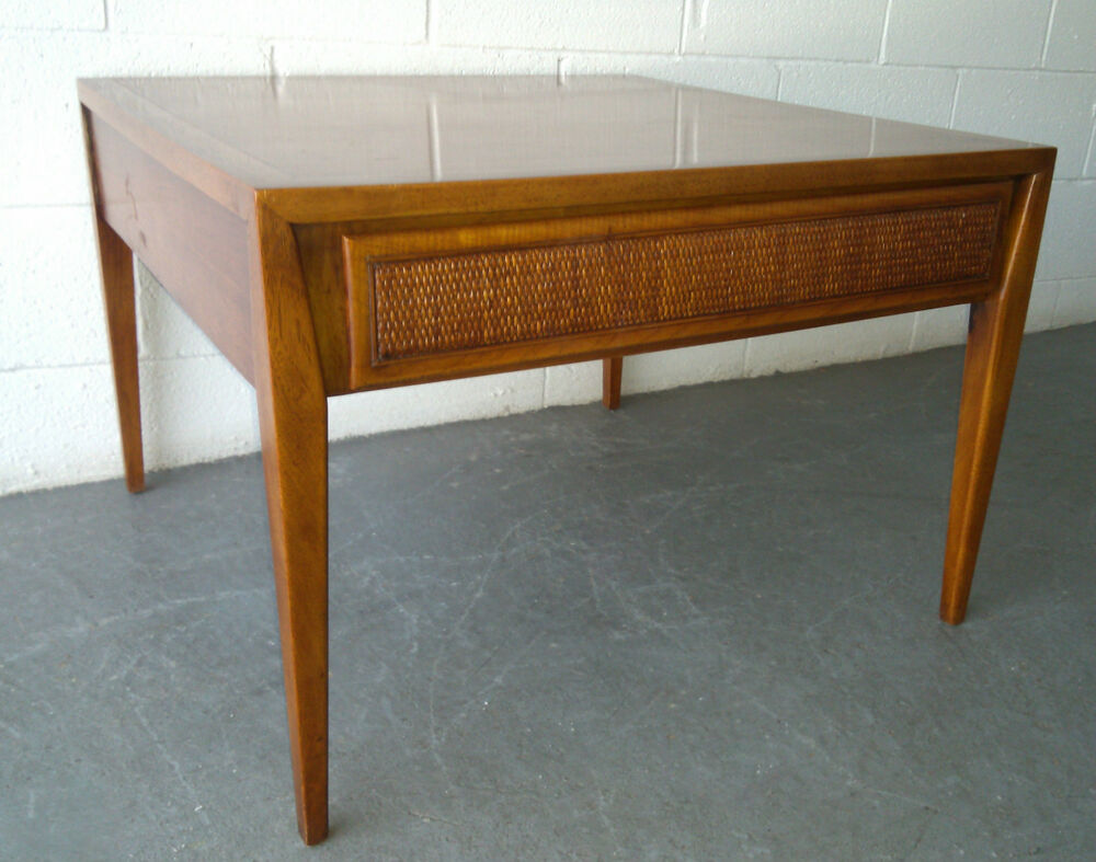 mid century modern century furniture walnut cane drawer end table