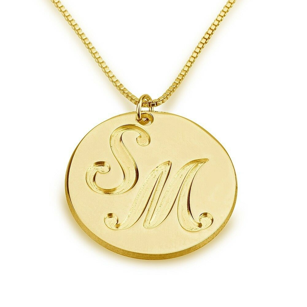 Engraved Two Letter Necklace - Initials Name - Gold Plated ...