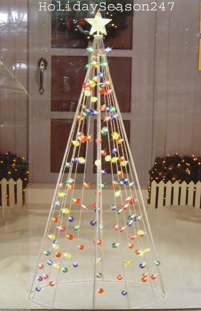 giant 7ft twinkle multi color cone tree w 140 light christmas holiday. Black Bedroom Furniture Sets. Home Design Ideas