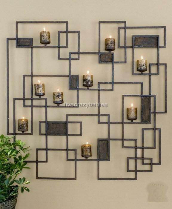 XL Wall CANDLE SCONCE Sculpture Art Geometric Contemporary