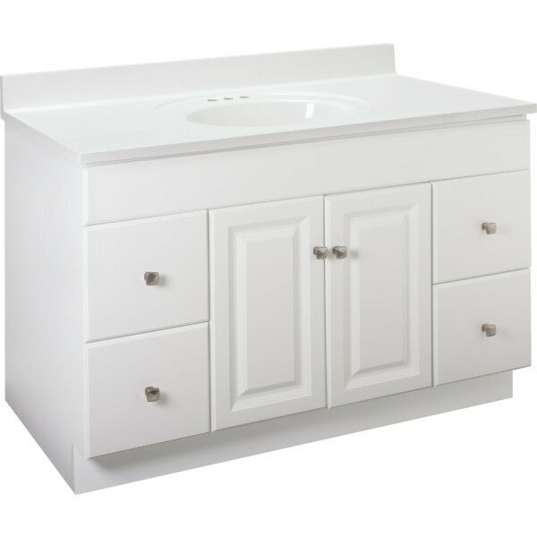New Bathroom Vanity Drawer Base Cabinet White Thermofoil 48 Wide X 21 Deep Ebay