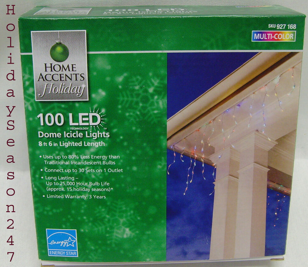Home Accents 100 LED Dome Icicle Lights Multi Color