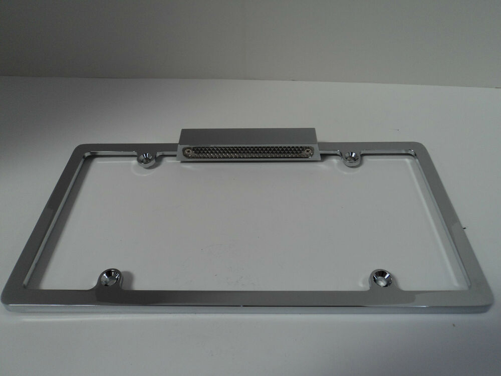 Chrome Aluminum License Plate Frame With Light Chevy Ford