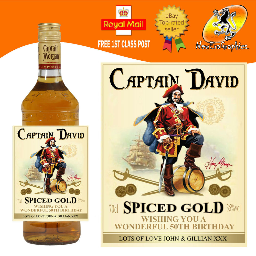 Personalised Jamaica Spiced Gold Rum Bottle Label Birthday