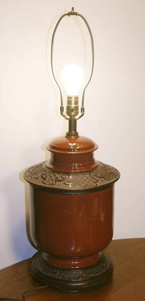 Vintage Large Haeger Pottery Base Table Lamp Chinese
