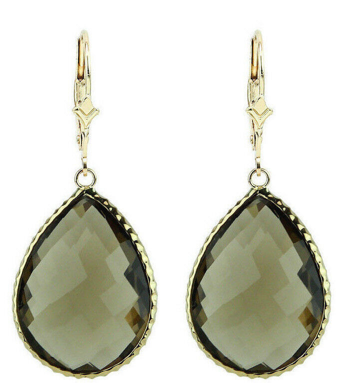 14k yellow gold gemstone earrings with large smoky topaz