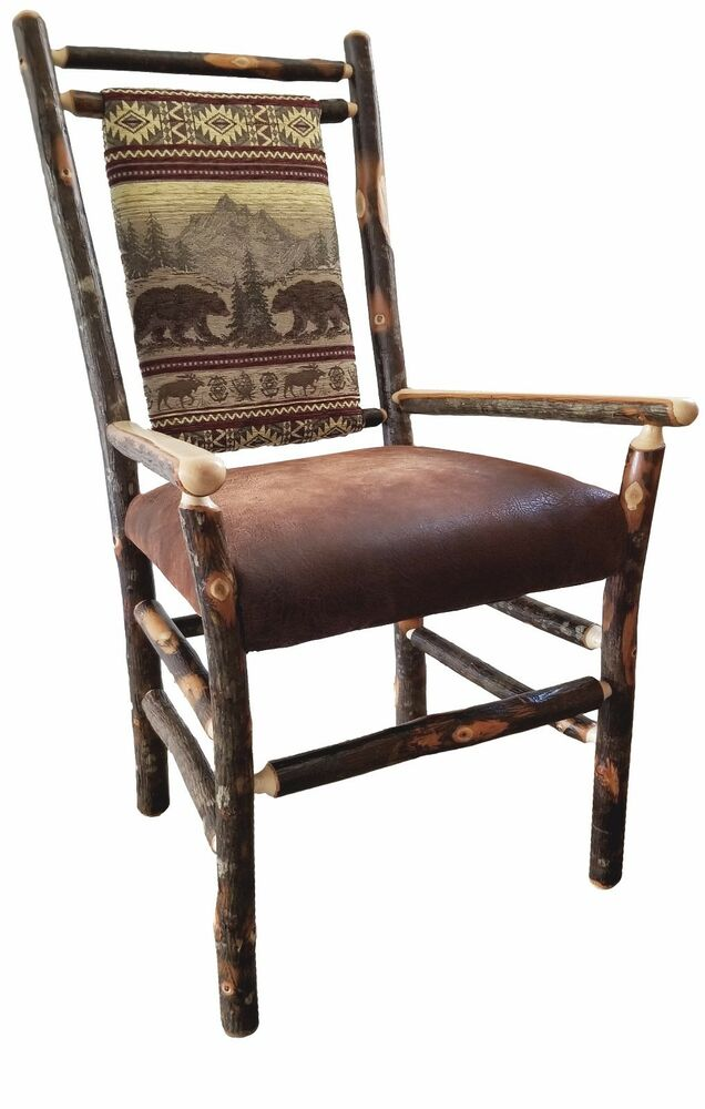 Rustic Hickory Medium Back Dining Arm Chairs - Set of 2 ...