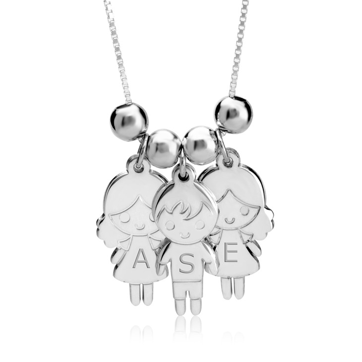 silver name charms boy necklace