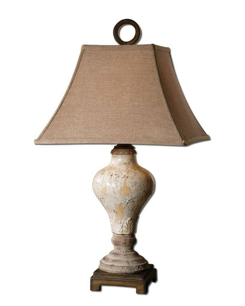 Antique Style Distressed Pottery Ivory White Table Lamp