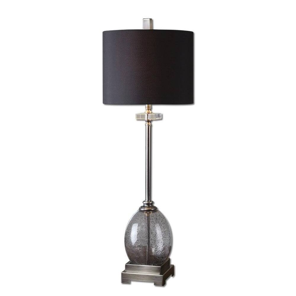 Luxe CHARCOAL GRAY Glass Buffet Lamp Tall Slim Black