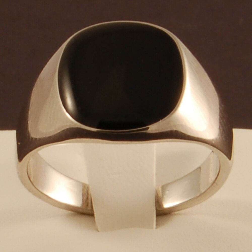 White Gold Plated Black Onyx Ring Mens Wedding Signet Pinky Sizes K To Z 3 NEW