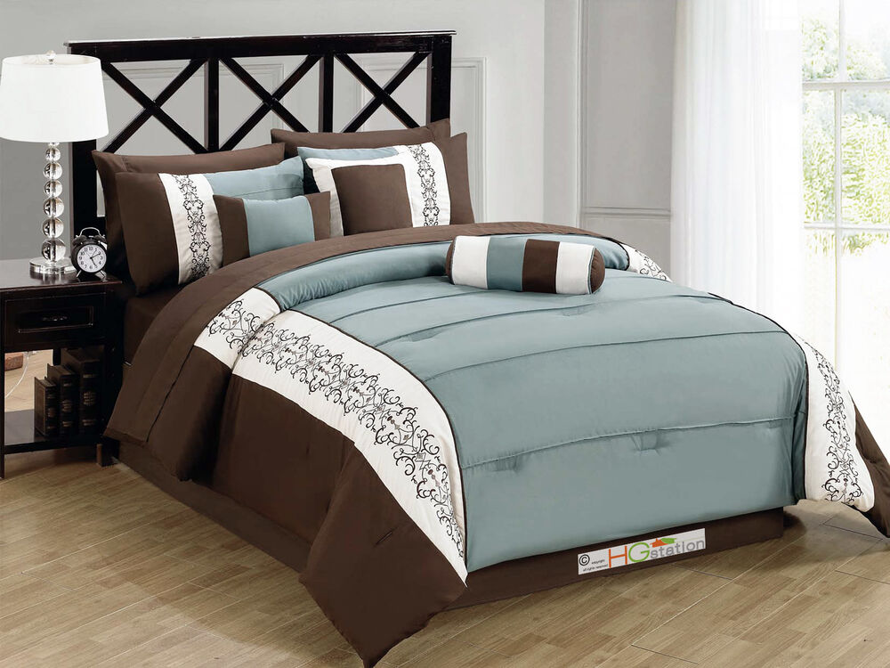 11Pc Pintuck Scroll Embroidery Comforter Curtain Set Brown