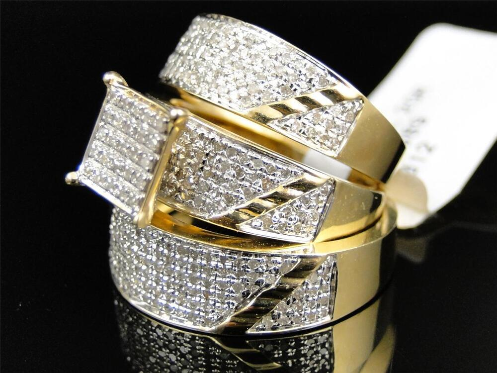 Mens Ladies Yellow Gold Diamond Engagement Bridal Wedding