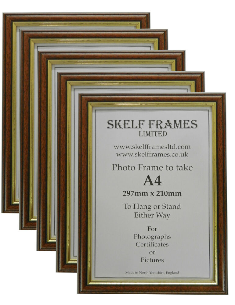 5 Pack of A4 DARK WOOD with GOLD INLAY PICTURE PHOTO CERTIFICATE ...