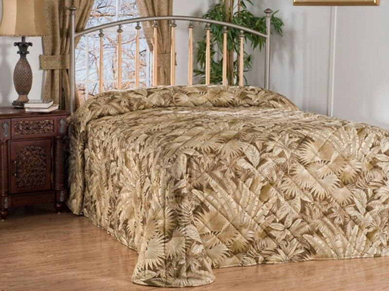 Bahamian Coffee Beige Tropical Quilted Bedspread 4 Sizes