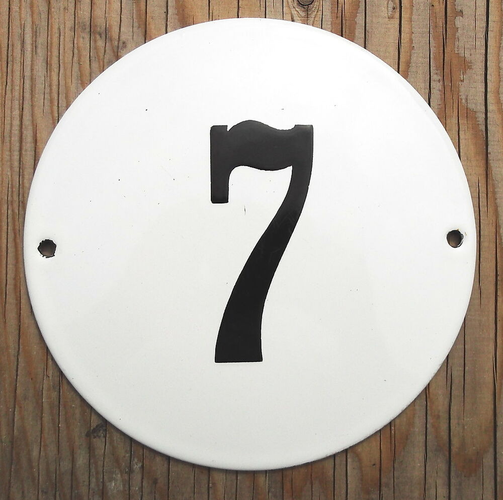 Classic enamel house number sign black number 7 on a for Classic house numbers
