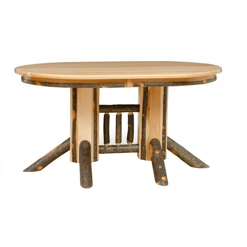 HICKORY OAK Double Pedestal Oval Dining Table Expandable EBay