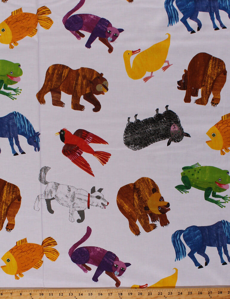 Horses cats animals brown bear brown bear kids cotton for Horse fabric for kids