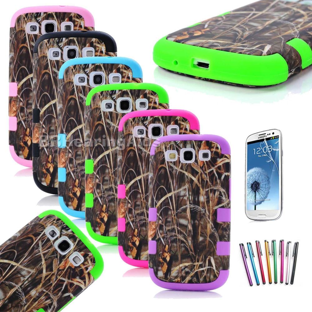 Hybrid Straw Grass Camo Phone Case Cover For Samsung Galaxy S3 III ...
