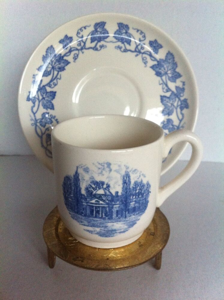 wedgwood monticello blue demitasse cup and saucer home of thomas jefferson ebay. Black Bedroom Furniture Sets. Home Design Ideas