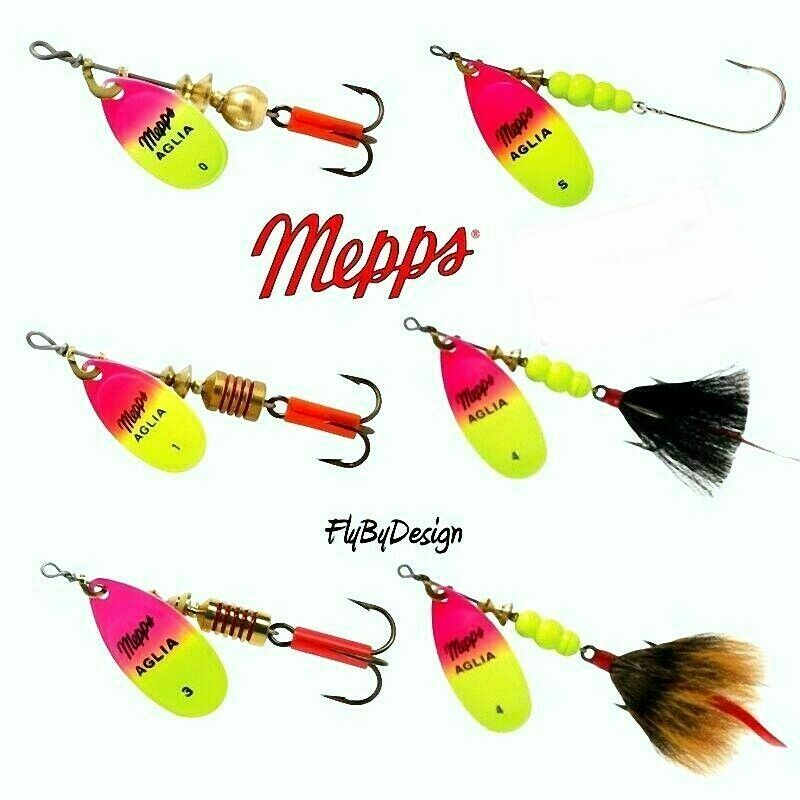 Mepps Aglia Hot Pink Chartreuse Blade Spinner Fishing