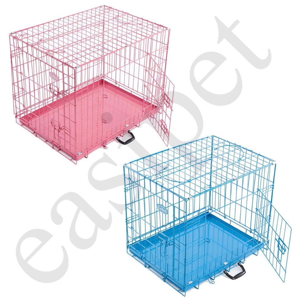 Pink Blue Dog Puppy Metal Training Cage Crate Carrier S M ... - photo#12