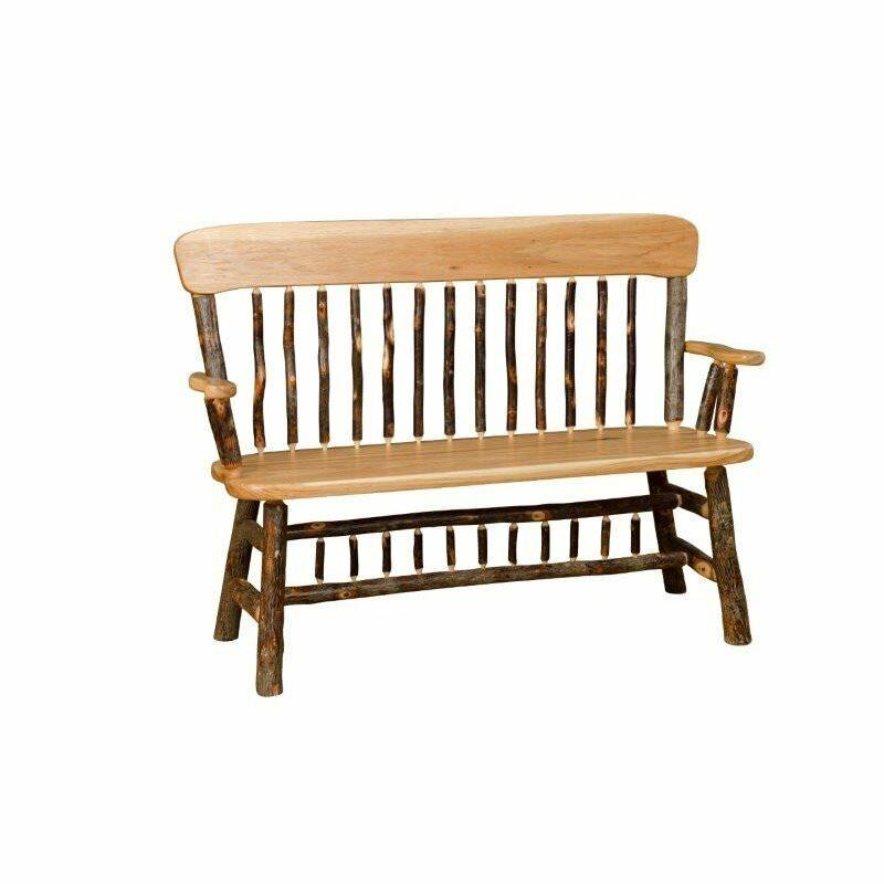 Hickory Oak Rustic Deacon Bench Amish Made Usa Ebay
