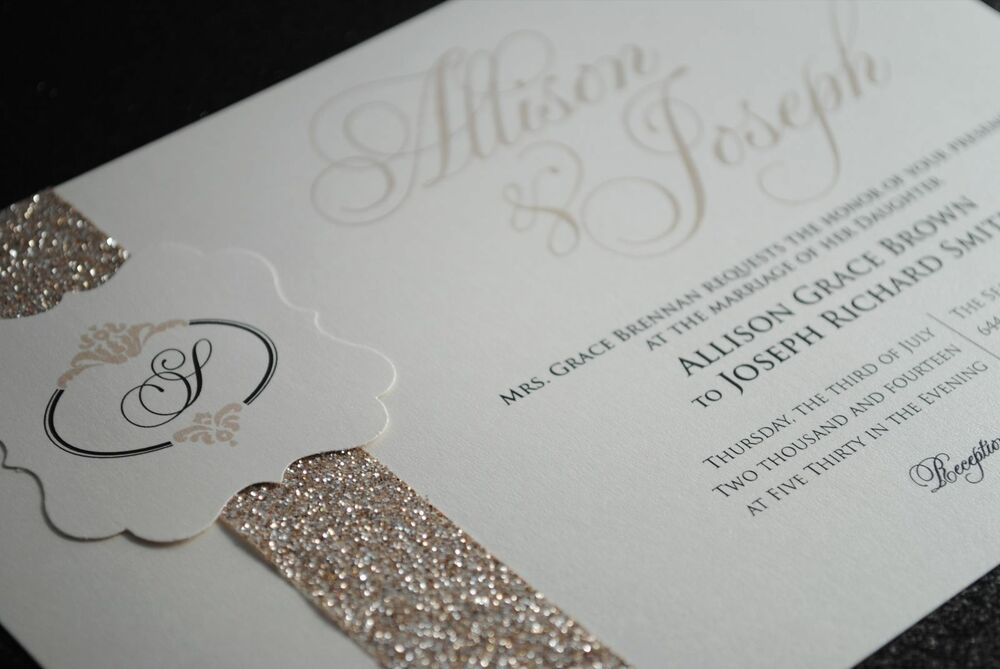Gorgeous Wedding Invitations: 1 SAMPLE Invitation With Beautiful Glitter Band