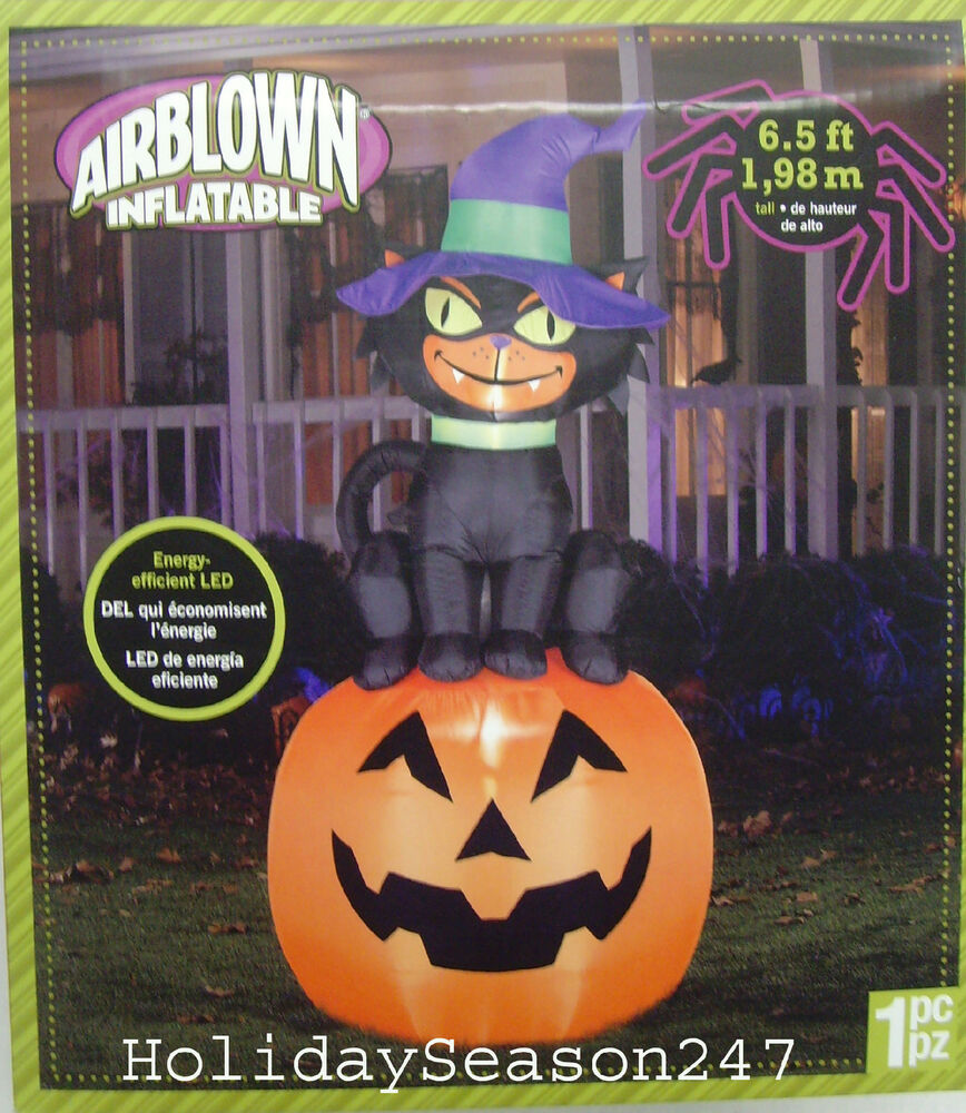 Details About 6 5ft Gemmy Scary Black Cat On Pumpkin Airn Inflatable Yard Prop