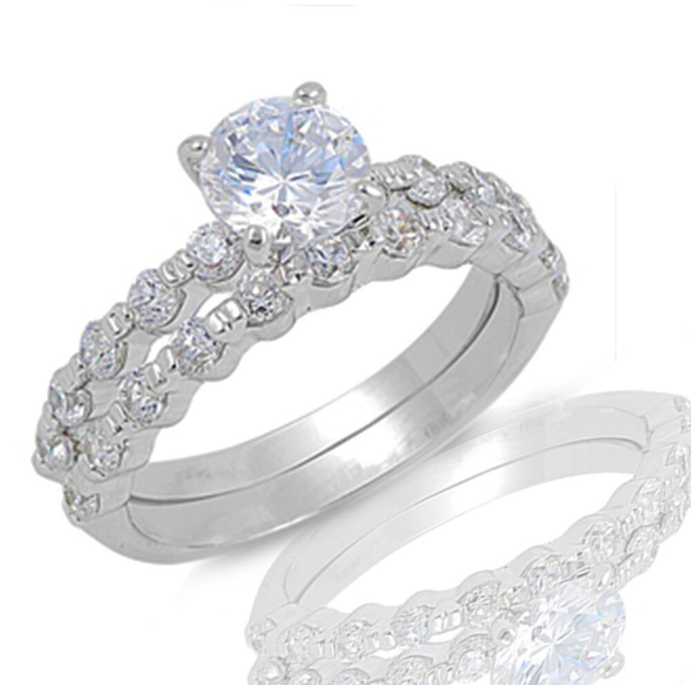 brilliant cut cz engagement wedding silver ring set size 3 12 ebay