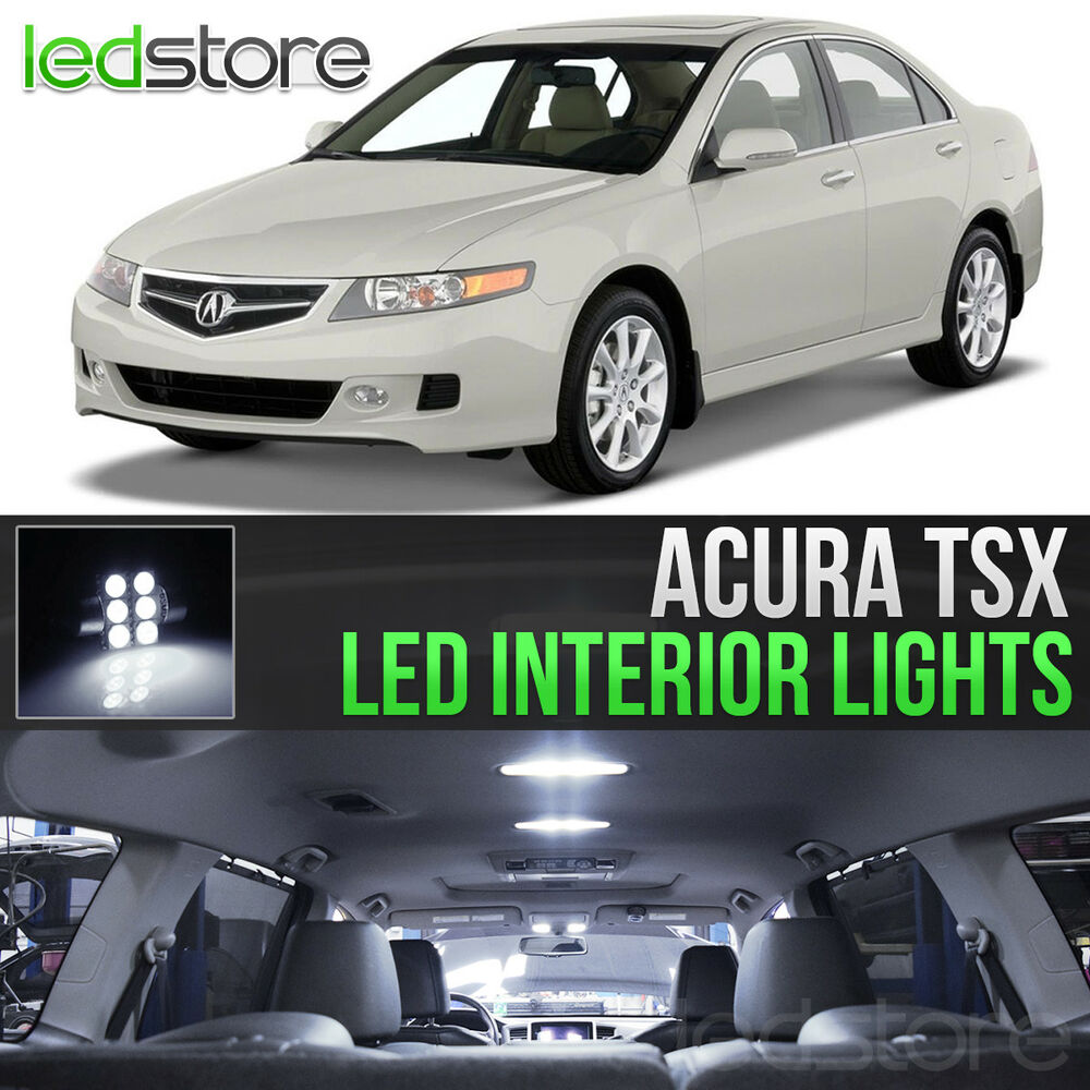 2004 2008 acura tsx white led lights interior kit ebay for Led car interior lights ebay
