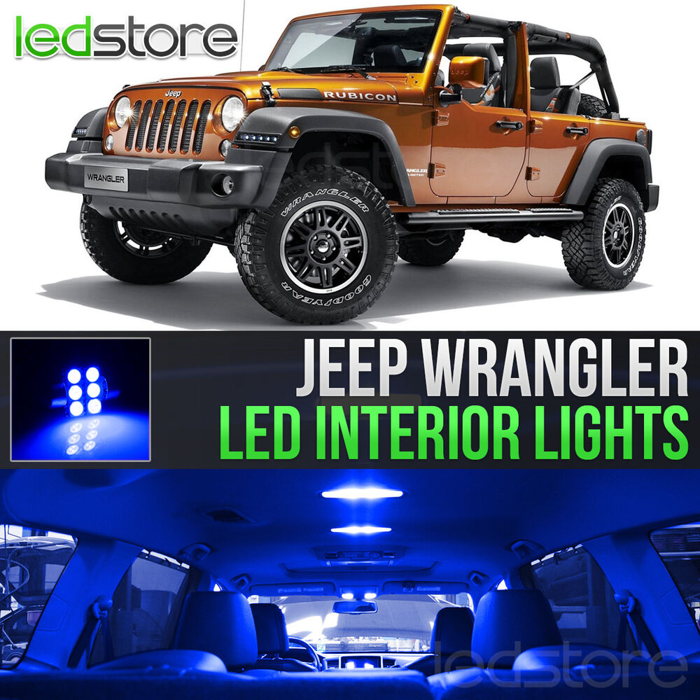2007 2015 Jeep Wrangler Blue Led Lights Interior Kit Ebay