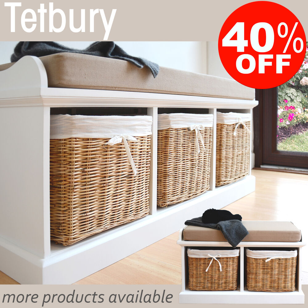 Tetbury Hallway Storage Bench With Cushion Quality White Bench Wicker Baskets Ebay