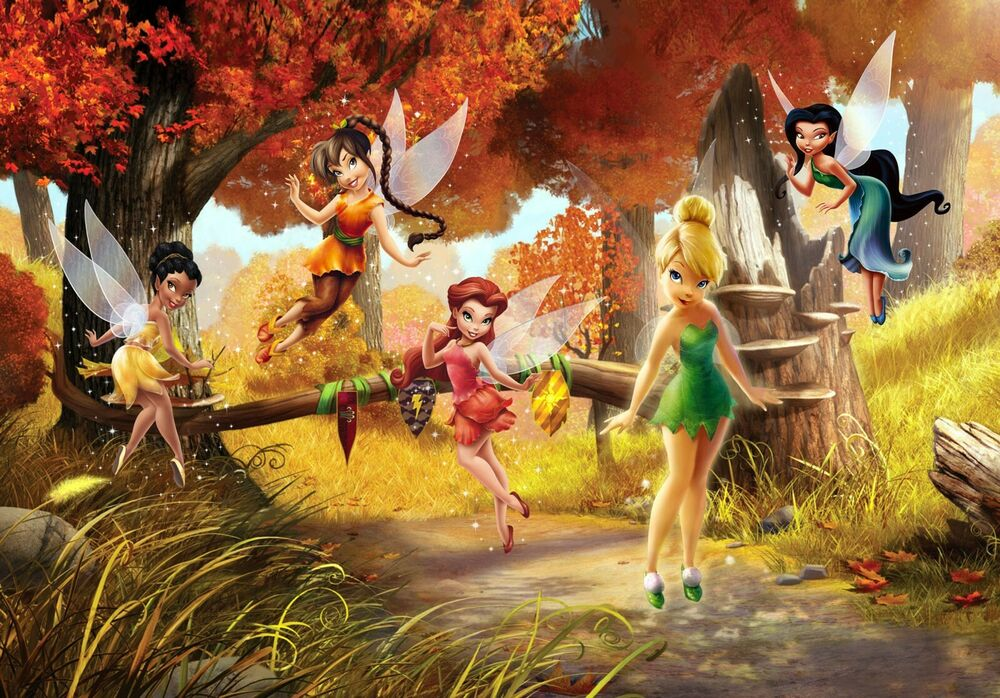 Wall mural photo wallpaper fairies in the meadow for for Disney tinkerbell mural